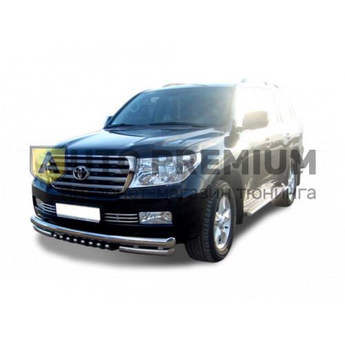 Защита переднего бампера с дополнительной защитой двигателя Труба двойная d63,5 для Toyota Land Cruiser 200 с 2007-2011 г. (нержавейка)